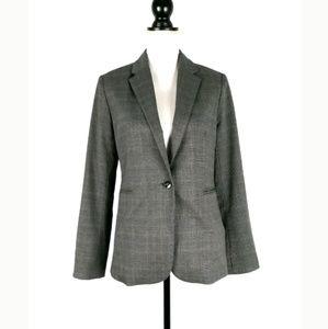 Adrienne Vittadini gray plaid single button blazer